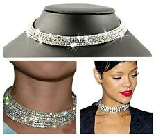 Diamante Choker Necklace 3 Rows Rhinestone Silver Crystal Diamond Wedding Bridal