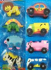 Cute Animal Car Vehicle Toy Gifts Rubber Pencil Eraser Party Set Kids Children