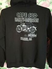 Harley Davidson Cape Cod Mens Medium Full Zip Black Hoodie Sweatshirt EUC Mass