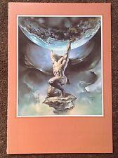 Boris Vallejo Imprimer 1994 Fantasy Art Vintage Atlas Monde Terre mâle Mythologie