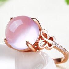 Lovely Adjustable Rose Quartz Pink Crystal Rose-Gold Filled Lady Finger Rings