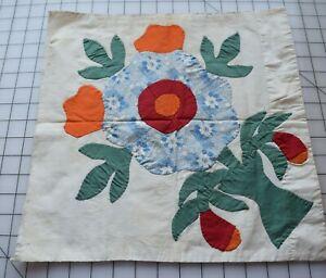 9347 Antique 1930's Applique Flower quilt block, solid orange, red, green,
