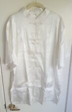 Men's Pearl White Oriental Chinese Kung-Fu Style 100% Silk Shirt Size XXL NEW