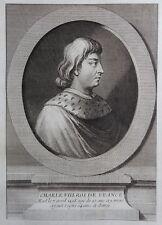 Gravure Etching Portrait Charles VIII Roi de France Eisen
