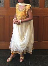 "32"" Age 7-9 Kids Bollywood Salwar Kameez Indian Girls Fancy Dress Cream Gold"