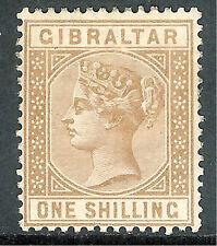Gibraltar 1886/87 bistre 1/- mint SG14