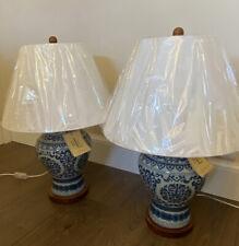 2 x Ralph Lauren Home Mandarin Blue Floral Urn Porcelain Table Lamps Pair New