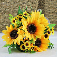 BA_ 7 HEAD CHARM FAKE SUNFLOWER ARTIFICIAL SILK FLOWER BOUQUET WEDDING FLORAL D