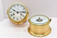 Schatz Ships bell Clock Barometer Set antique winding VTG Nautical Brass Pair