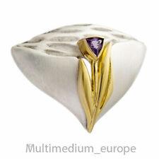 Modernist Sterling Silber Amethyst Brosche vergoldet silver brooch 🌺🌺🌺🌺🌺