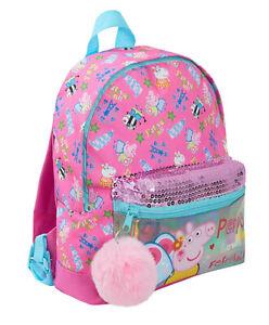 Peppa Pig Girls Luxury Roxy Style Backpack Kids Iridescent Nursery Lunch Bag