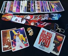Queen Freddie Mercury Gift Pack Rock Music 25x Stickers +1 Enamel Pin +1 Lanyard
