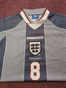 England Euro 1996 away SHIRT Euro 96 GREY AWAY GASCOIGNE SIZE L