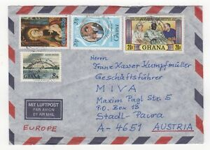 1980's GHANA Air Mail Cover KOFORIDUA to STADL-PAURA AUSTRIA Xmas Royalty Pope