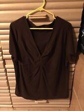 St John��s Bay Shirt, Solid Brown, 2x, V-neck, Shirt Sleeve