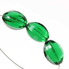 (3) large antique Czech green Art Deco faceted glass beads Chandelier prisms
