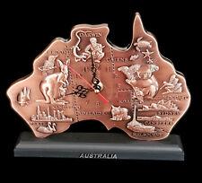 Australia Souvenir Desktop Copper Clock Map Cities Kangaroo Koala Wombat Large