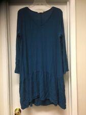 SOFT SURROUNDINGS Blue Long Sleeve V Neck Tunic Top Dress Sz Large