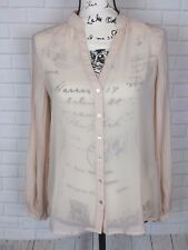 Zara Basic Blouse Sheer Tunic Nude Peach Pink Long Pleated Sleeves V Neck Size S