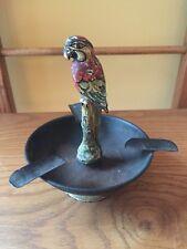Rare Antique Enamel & Metal Parrot Ashtray