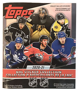 2020-21 Topps NHL Hockey Stickers Album, includes 10 Stickers
