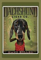 Dachshund Zigarre 1973 Blechschild Schild gewölbt Tin Sign 20 x 30 cm FA0569