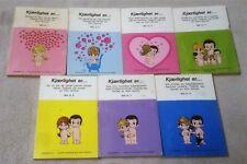 Vintage Set 7 LOVE IS... Small Books KIM GROVE Norwegian Language Fredhois 1971