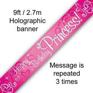 9ft-2.7m Banner Happy Birthday Princess Holographic