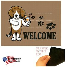 Beagle Dog Cocktail Bar Drinking Welcome Home Doormat Door Floor Mat Rug