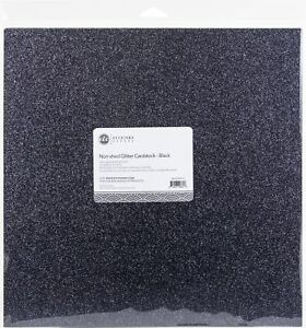 """ETC Papers Non-Shed Glitter Cardstock 12""""X12"""" 10/Pkg-Black"""