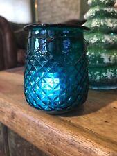 Antique aqua green Victorian Diamond Quilted Glass Christmas Fairy Light Lamp