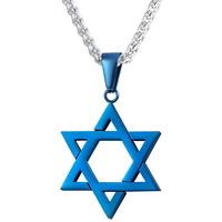 Star of David Pendant Necklace Chain christian Israel Jewish Blue Ion Plate