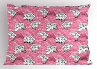 Pink and White Pillow Sham Decorative Pillowcase 3 Sizes for Bedroom Decor
