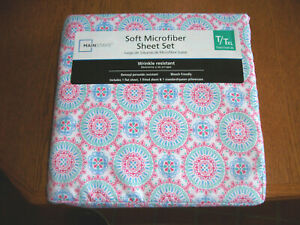 Mainstays Soft Microfiber Twin XL Sheet Set Multi Colored Medallion Pattern NIP