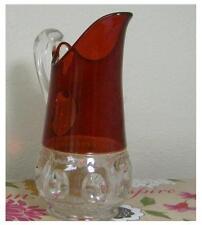 Collectable Vintage Kings Crown Vase Milk Thumbprint Cranberry
