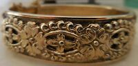 VINTAGE WHITING AND DAVIS REPOUSSE GOLD HINGED BRACELET FLORAL CROSS