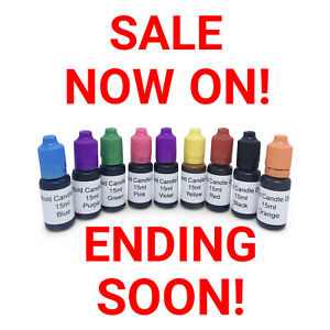 LIQUID CANDLE DYES HIGHLY CONCENTRATED COLOURS FOR SOY PARAFFIN WAX 15ML BOTTLES