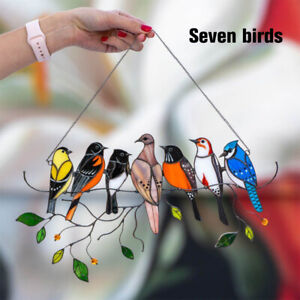 Multicolor Birds on a Wire High Stained Glass Suncatcher Window Panel Decor 2021