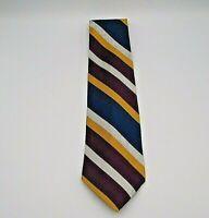 """Hathaway Men's Neck Tie Purple, Gold, White, & Blue Stripe Pattern Silk 58"""""""