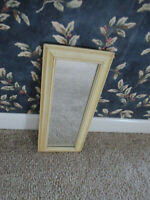 """Vintage light yellow wood frame  18 1/2"""" tall x 8 1/2"""" wide wall mirror"""