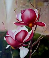 Red Magnolias, Quality Original Hand Painted Oil Painting 20x24in