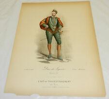 1860 Antique COLOR Print/DUKE OF JOYEUSE, King Henri 3 Period Costume/Clothing