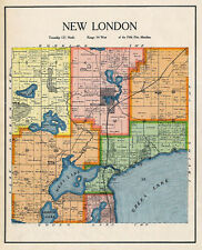 New London Township, Kandiyohi County, Minnesota, 1905 Rare Color Landowners Map