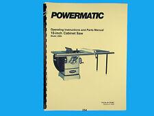 "Powermatic  Model 2000 10"" Table Saw Operators  & Parts List Manual *254"