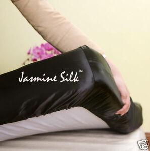 Jasmine Silk Pure Silk Fitted Sheet (Black) - KING