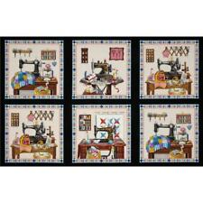 Stitch in Time Sewing Machine Patchwork Black Cotton Quilting Fabric Panel