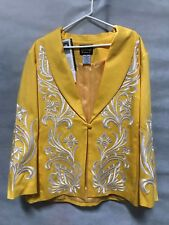 Bob Mackie Wearable Art Yellow Cotton Jacket with white embroidery size 1X women