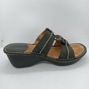 Colorado Opanka Women's Sz 8 Hand Stitch Leather Heel Sandals Slides Shoes Black