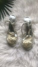 Audrey Brook Satin Ivory Kitten Heel Heel Sandals 7.5 Wide Party Shoes