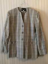 Plaid Blazer Womens Executive Collection Long Sleeve tan/ beige lined Size 12